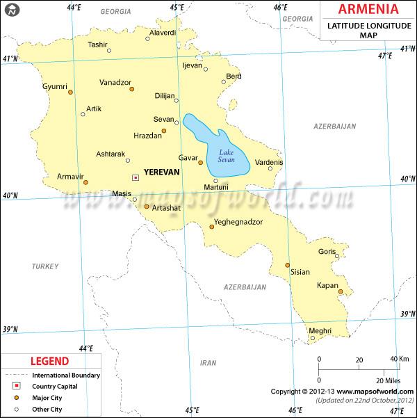 Armenia Latitude and Longitude Map