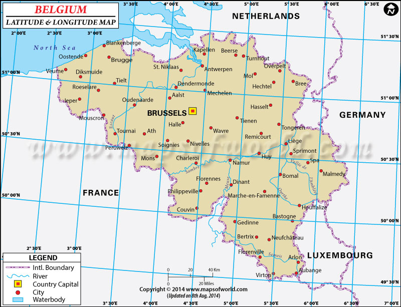 Latitude Map Of Europe.Belgium Latitude And Longitude Map