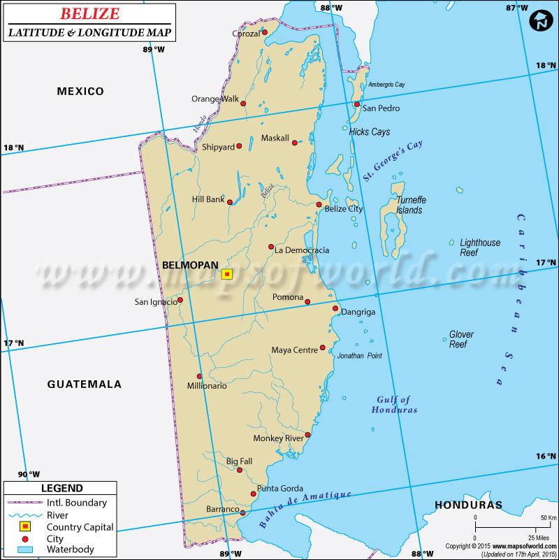 Latitude And Longitude Map - Belize map belmopan