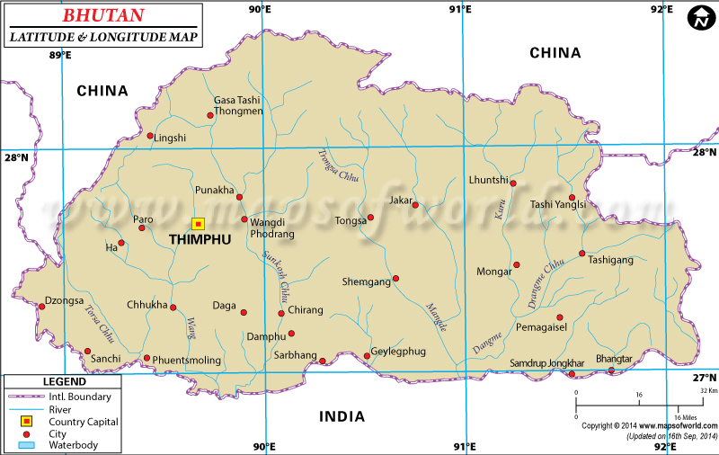 Bhutan Latitude and Longitude Map