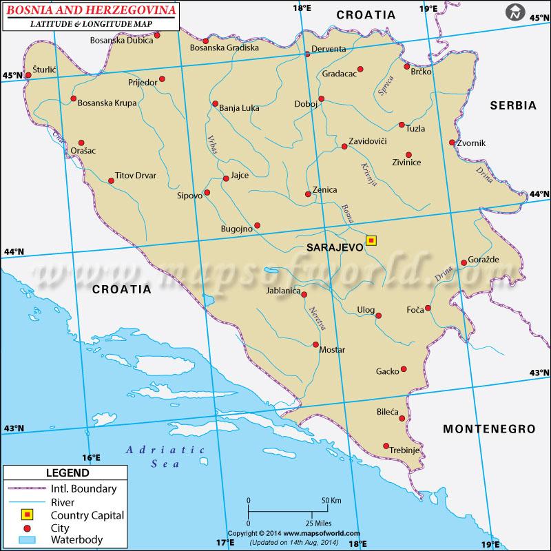 Bosnia-Herzegovina Latitude and Longitude Map