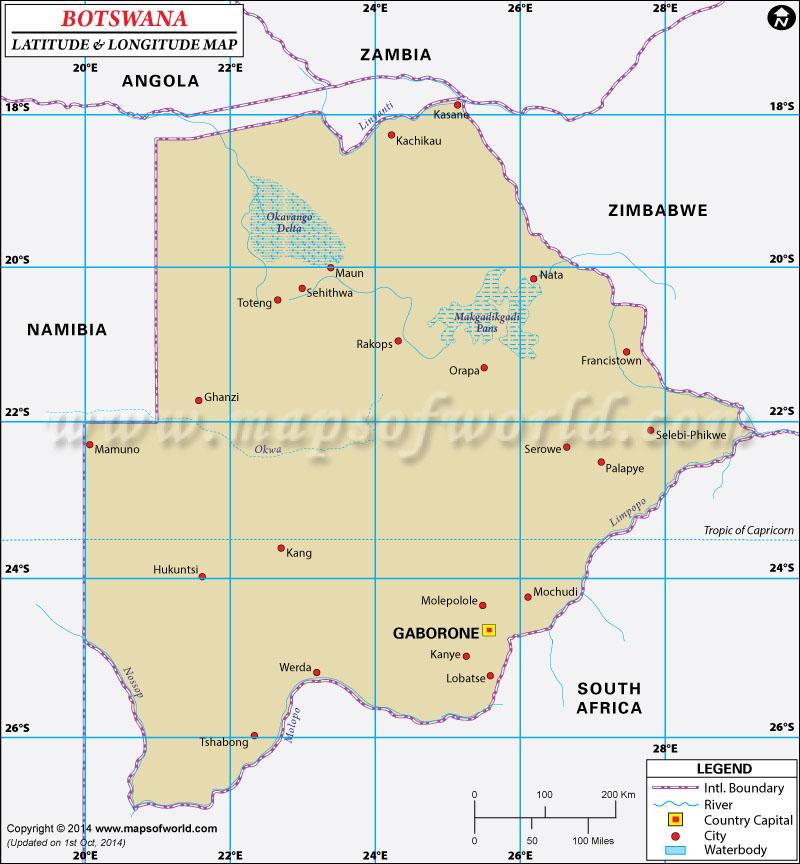 Botswana Latitude and Longitude Map