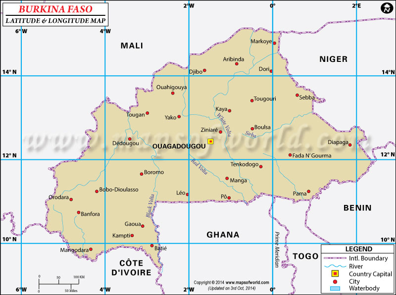 Burkina Faso Latitude and Longitude Map