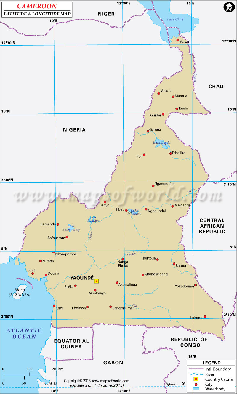 Cameroon Latitude and Longitude Map