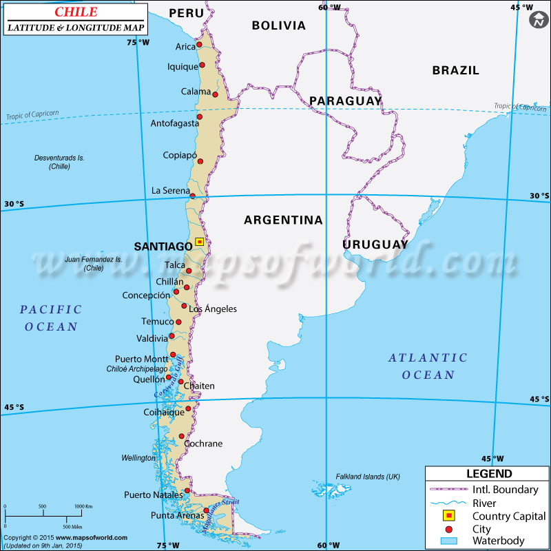 Chile Latitude and Longitude Map