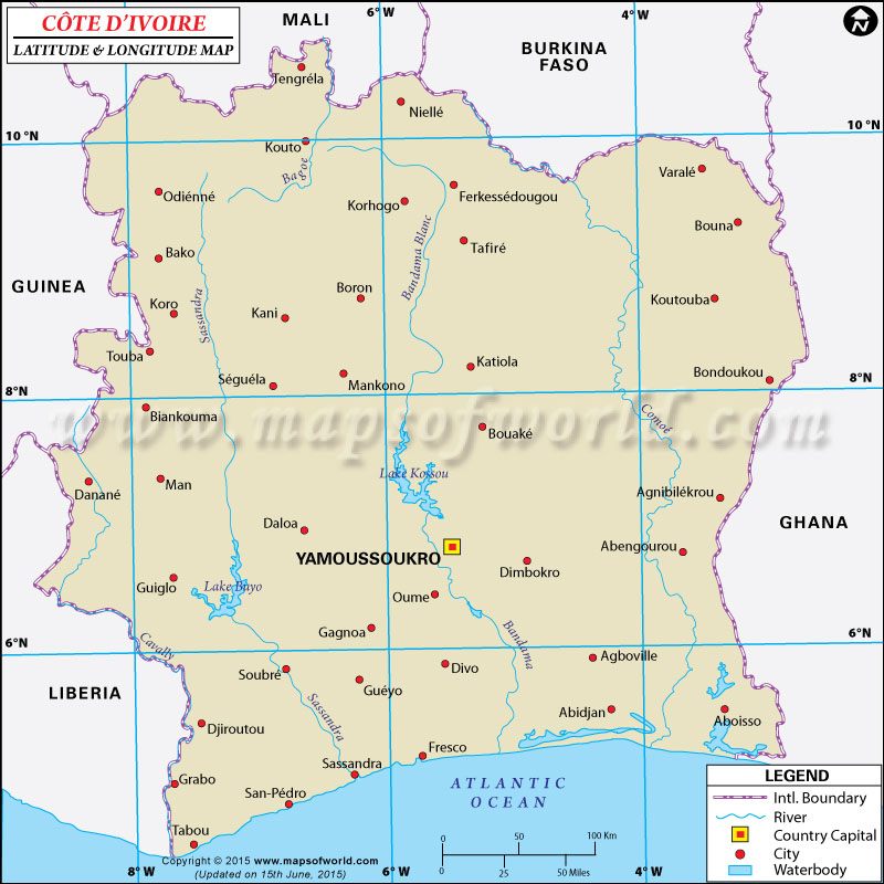Cote D'Ivoire Latitude and Longitude Map