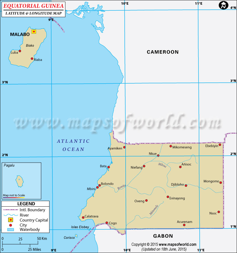 Equatorial Guinea Latitude and Longitude Map