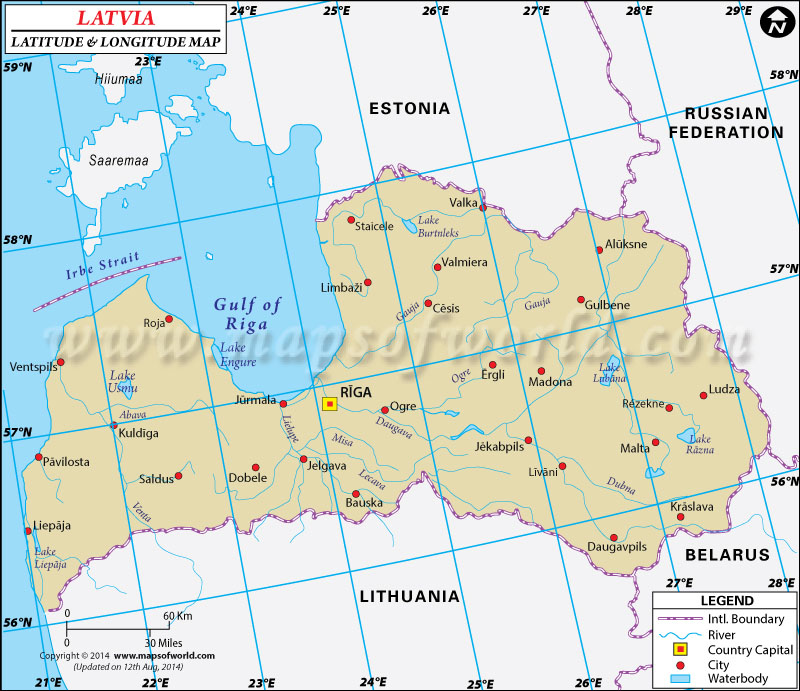Latvia Latitude and Longitude Map