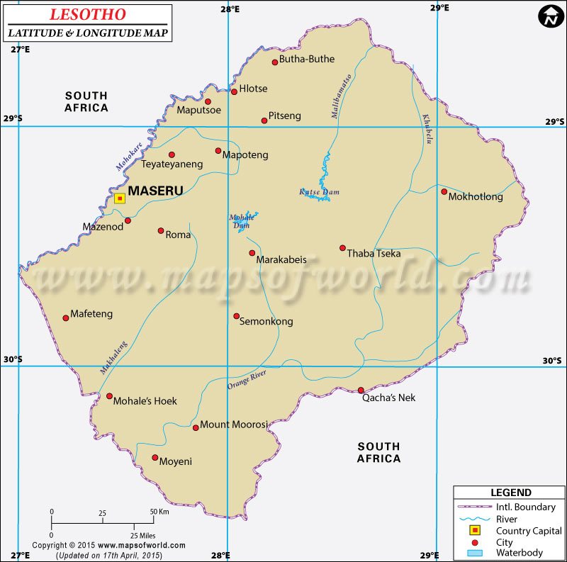 Latitude And Longitude Map - Lesotho maps with countries