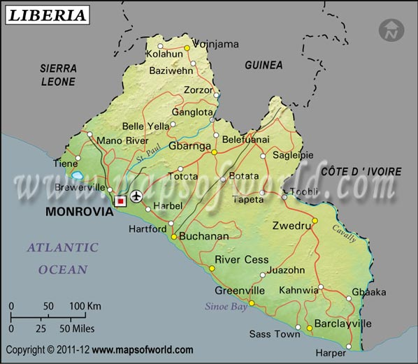 Liberia Latitude and Longitude Map