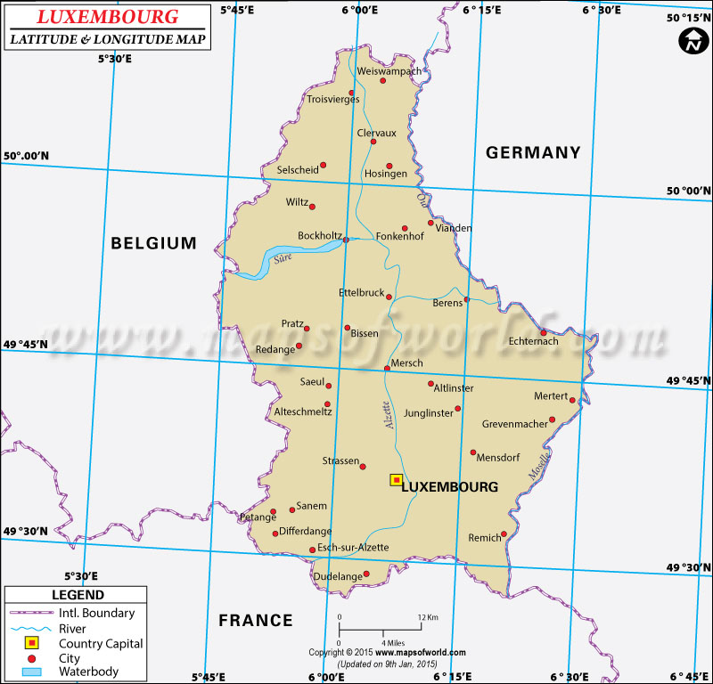 Map Of Germany And Luxembourg.Luxembourg Latitude And Longitude Map