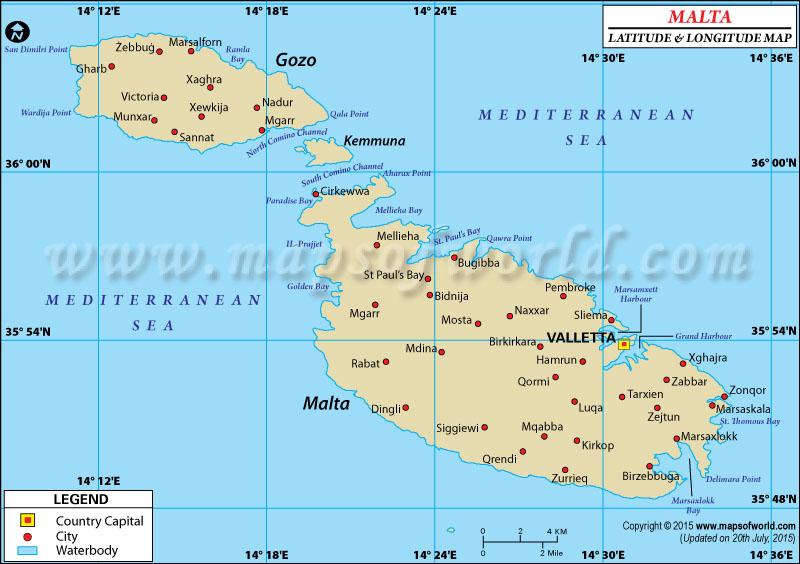 Malta Latitude and Longitude Map