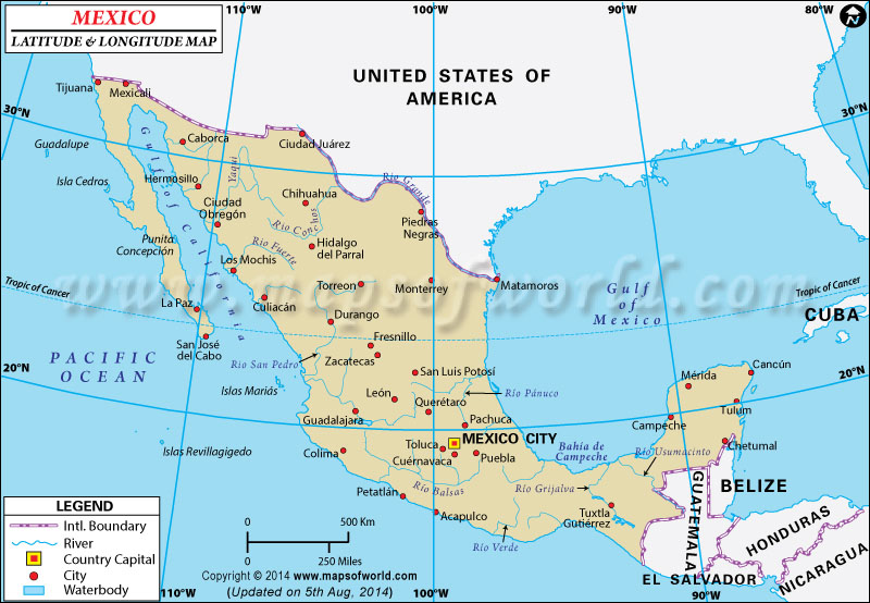 Mexico Latitude and Longitude (Latitud y Longitud de Mexico)