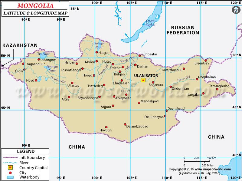 Map Of China With Latitude And Longitude.Mongolia Latitude And Longitude Map