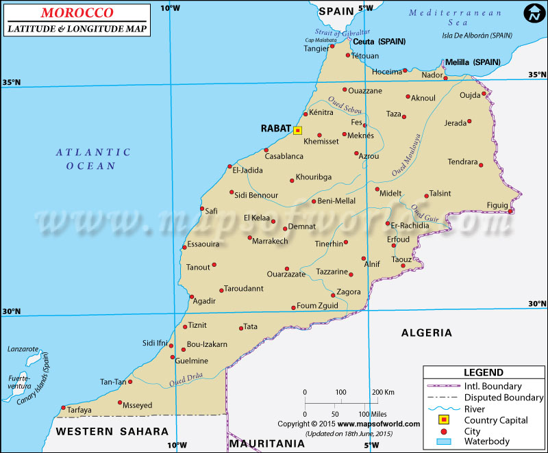 Morocco Latitude and Longitude Map
