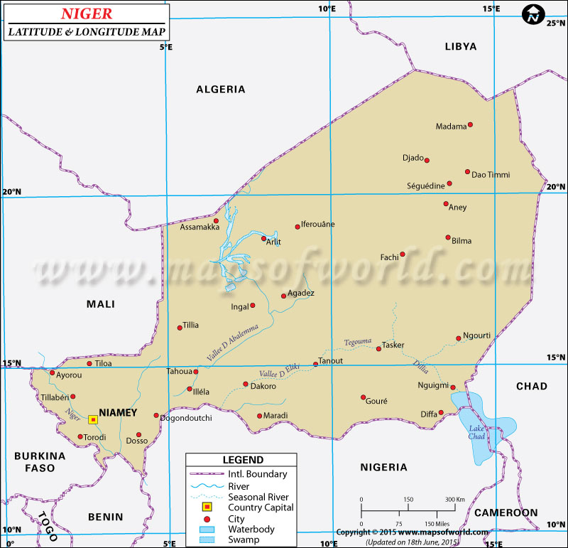Niger Latitude and Longitude Map