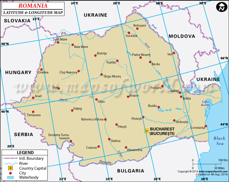 Romania Latitude And Longitude Map