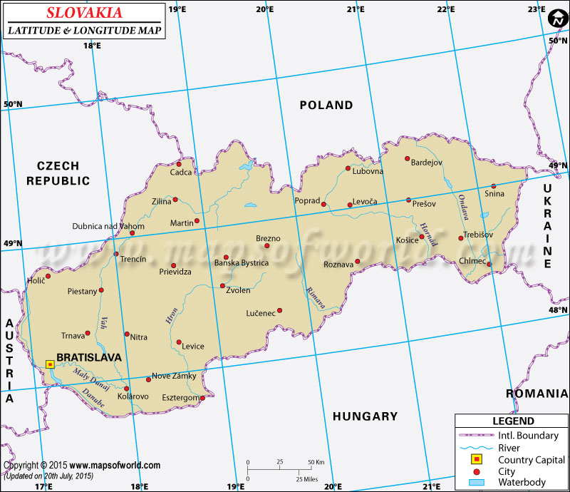 Slovakia Latitude and Longitude Map