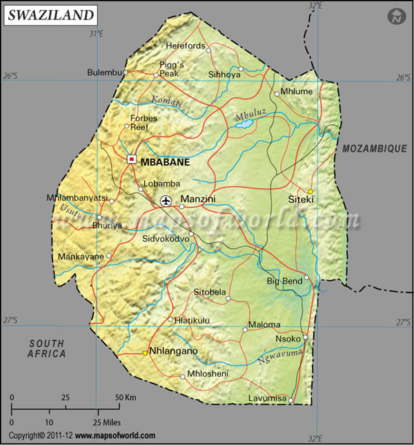 eSwatini (Swaziland) Latitude and Longitude Map