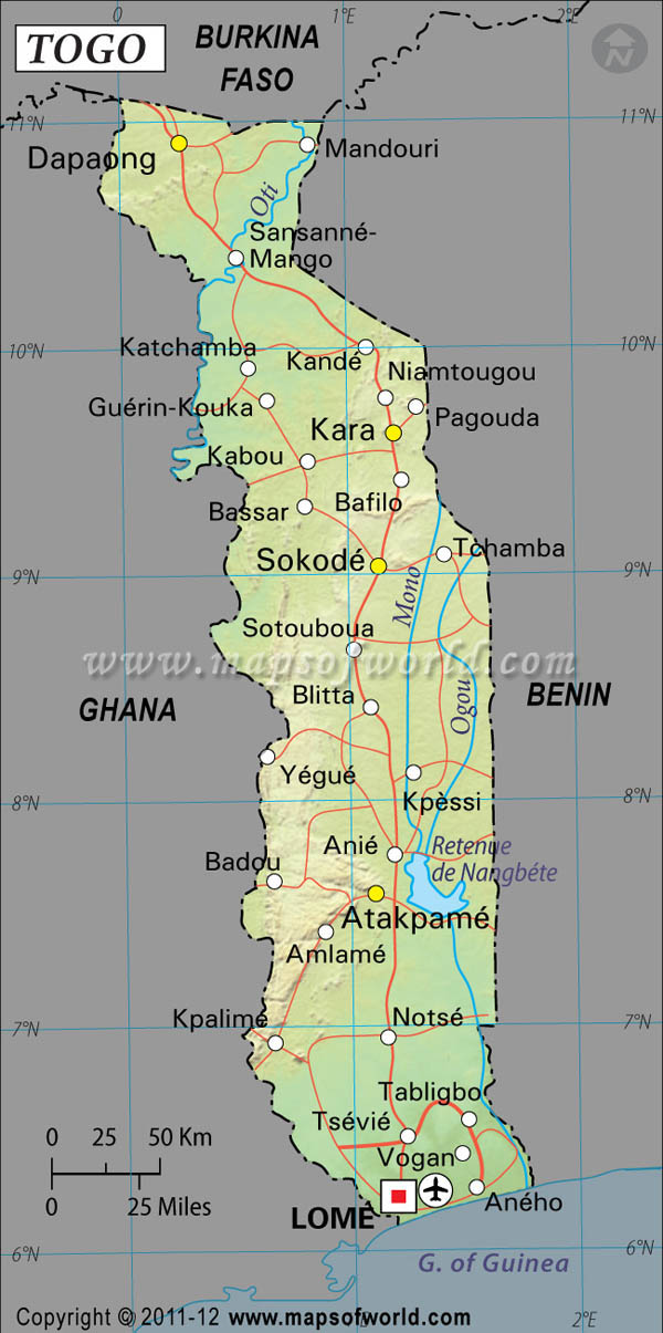 Togo Latitude and Longitude Map