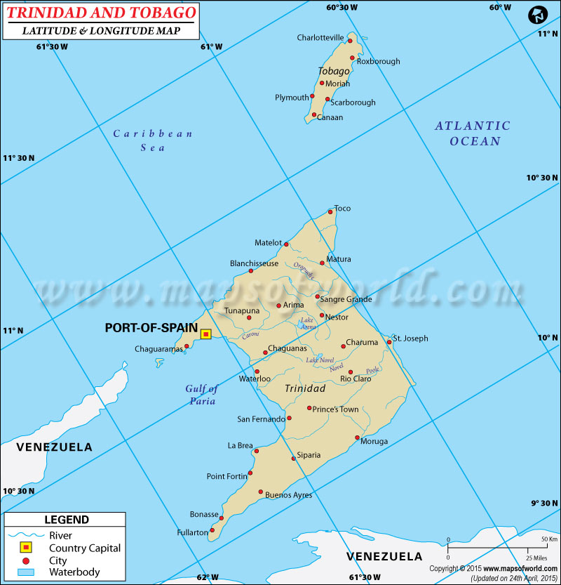 and Tobago Latitude and Longitude Map