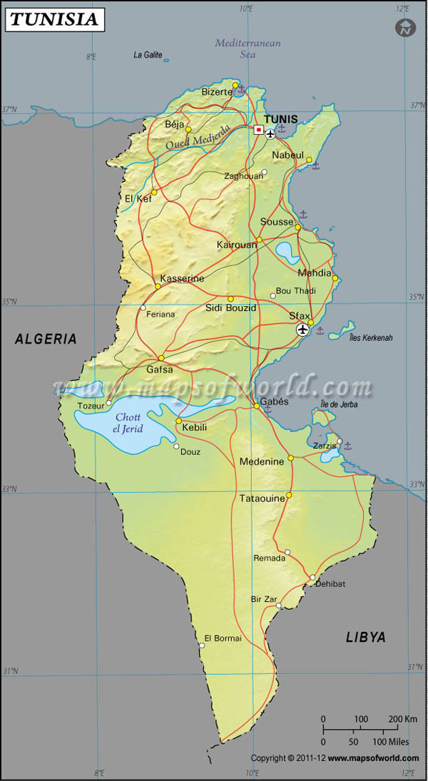 Tunisia Latitude and Longitude Map