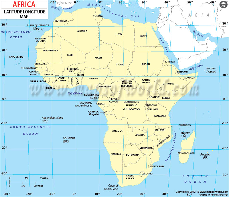 africa map longitude latitude lines