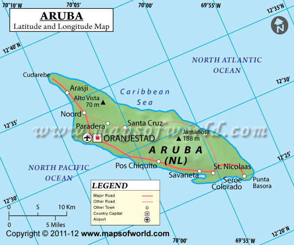 Latitude And Longitude Map - Caribbean map aruba
