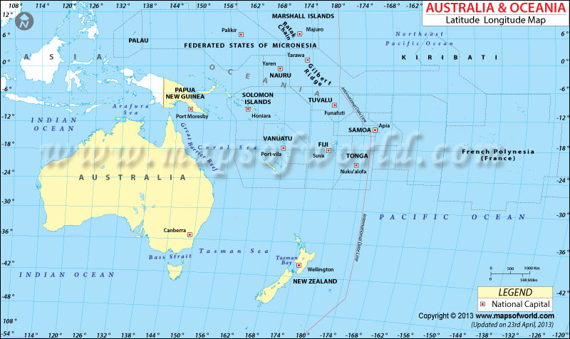 Oceania Latitude and Longitude Map