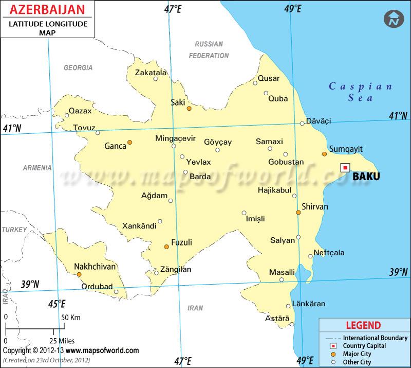 Azerbaijan Latitude and Longitude Map