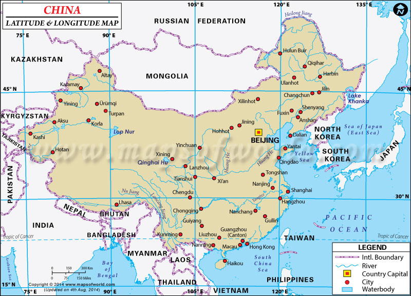 Map Of Asia Latitude And Longitude.China Latitude And Longitude Map