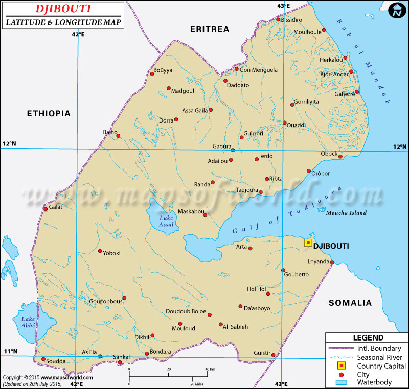 Djibouti Latitude and Longitude Map