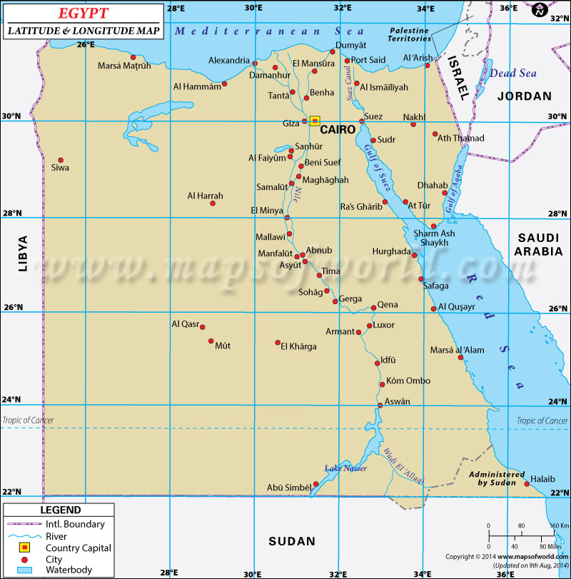 Egypt Latitude And Longitude Map - Egypt and rome map