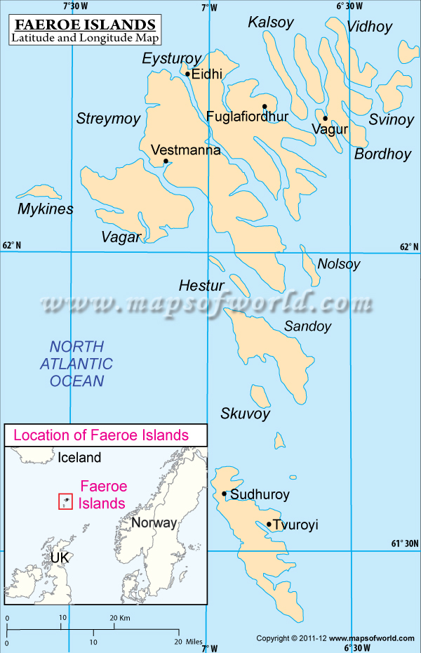 Faroe Islands Latitude and Longitude Map