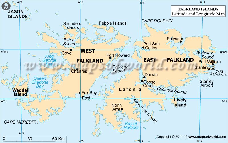 Islands Latitude and Longitude Map