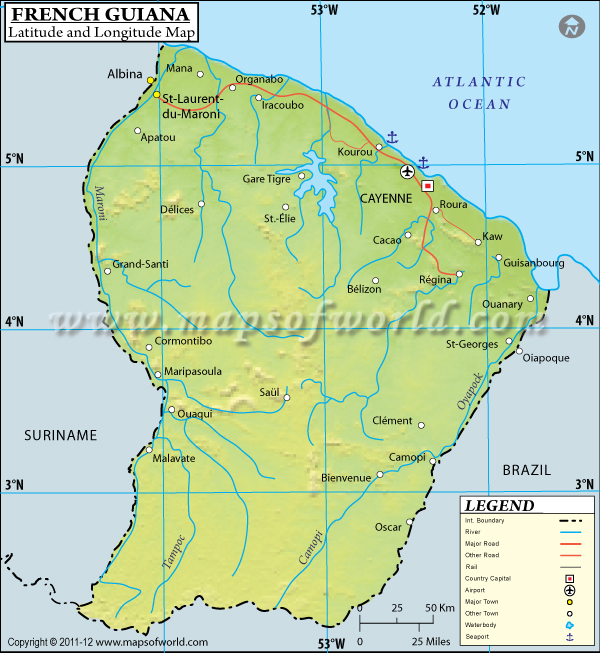 French Guiana Latitude and Longitude Map
