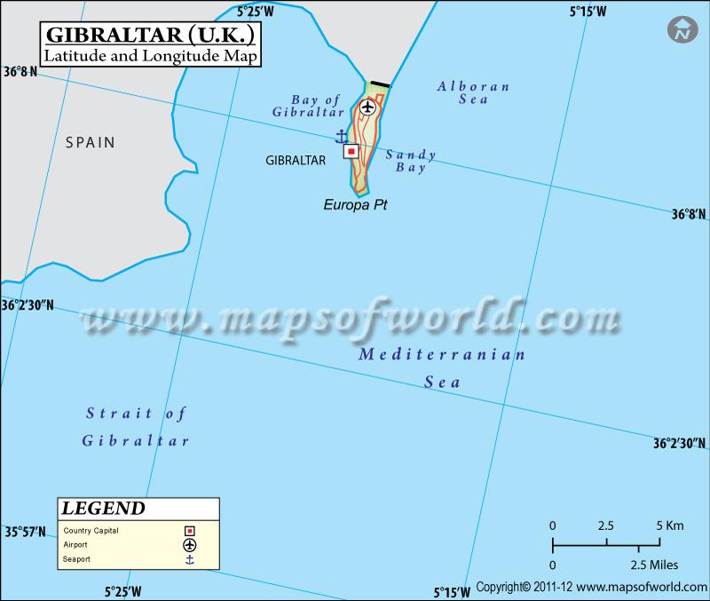 Gibraltar Latitude and Longitude Map