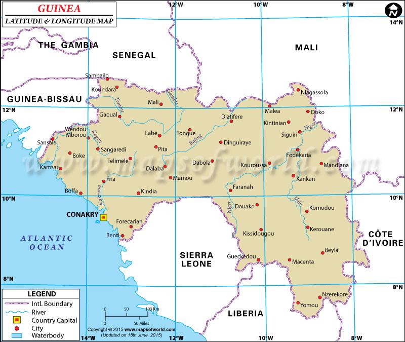 Guinea Latitude And Longitude Map