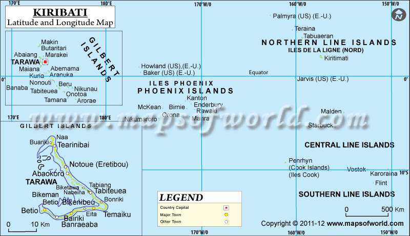 Kiribati Latitude and Longitude Map