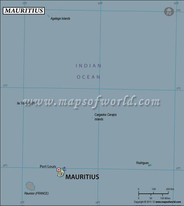 Mauritius Latitude and Longitude Map