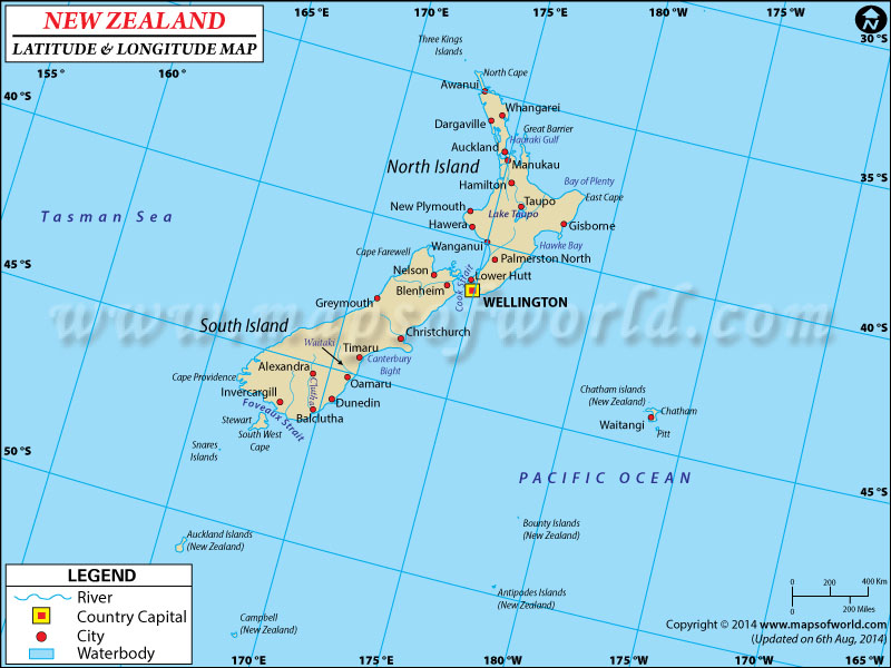 New Zealand Latitude and Longitude Map