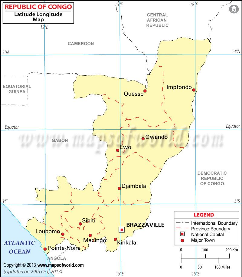 Congo Latitude and Longitude Map