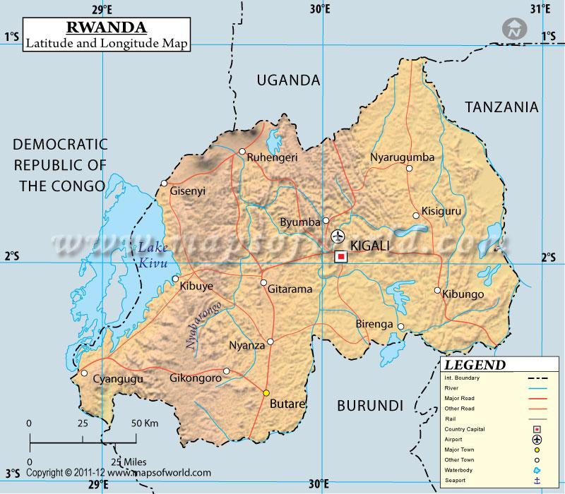 Rwanda Latitude and Longitude Map