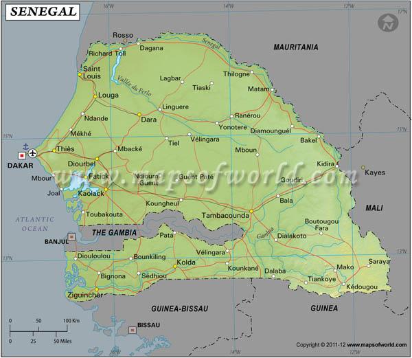 Senegal Latitude and Longitude Map
