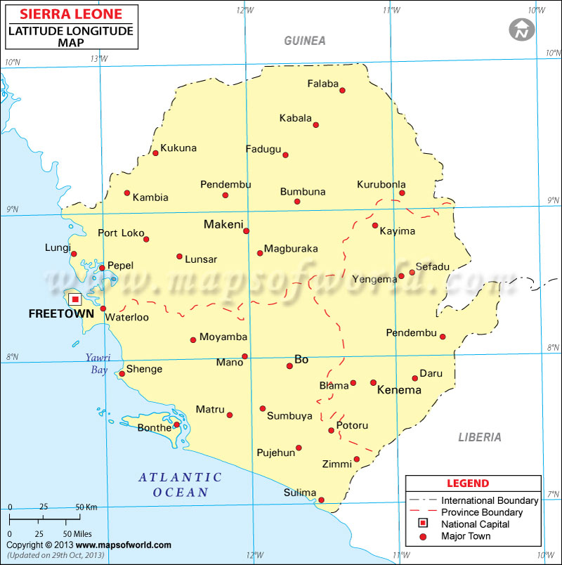 Sierra Leone Latitude and Longitude Map