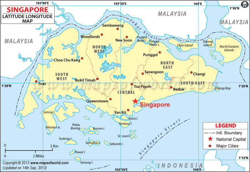 singapore latitude and longitude map