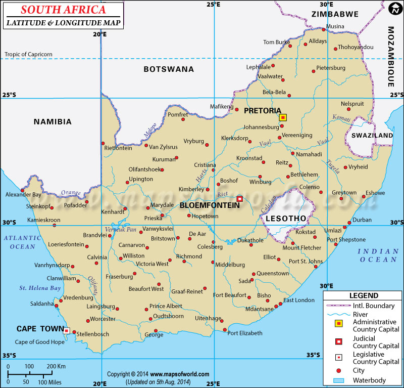 South Africa Latitude and Longitude Map