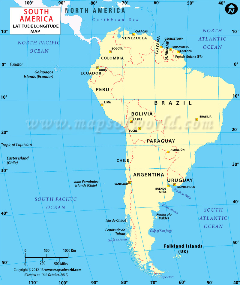 South America Latitude And Longitude - Usa map with longitude and latitude lines