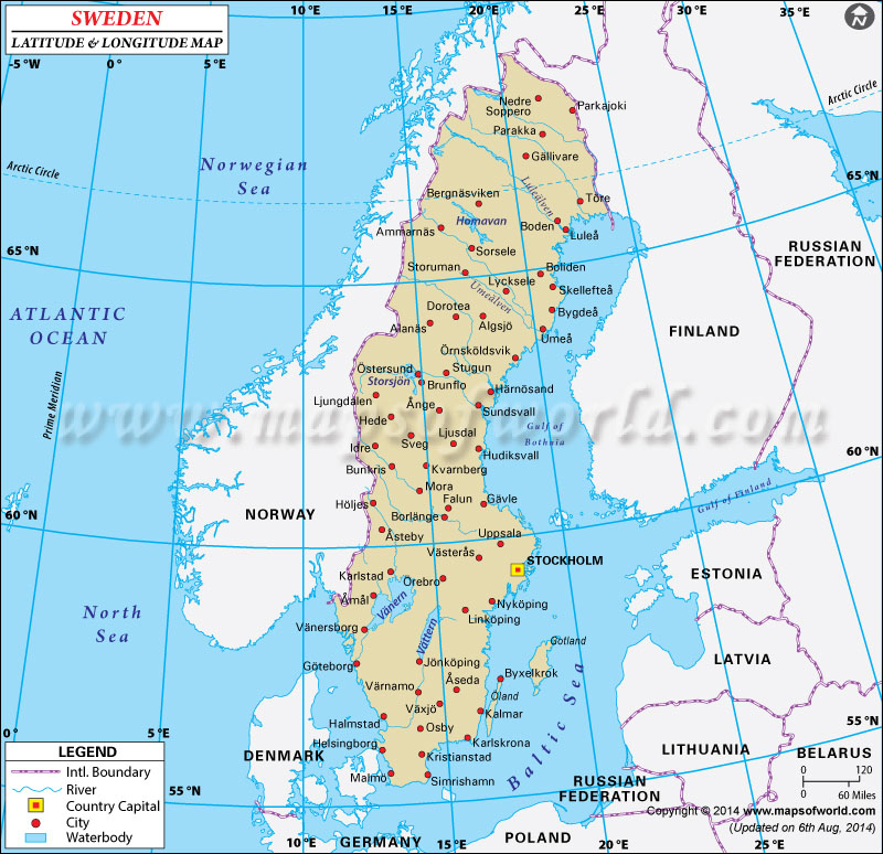 Latitude And Longitude Map - Sweden map towns
