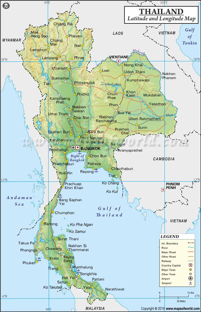 Thailand Latitude and Longitude Map